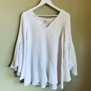 L*Space Lace White Tunic Top Flute Sleeves